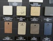 Swatches on the trailer wall reflect a preference for earthy, natural tones.