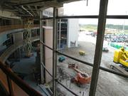 Looking down on the main lobby to the southwest. This space will be open, with abundant natural light.
