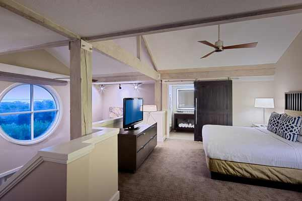 Redesigned bedroom of a Casita suite