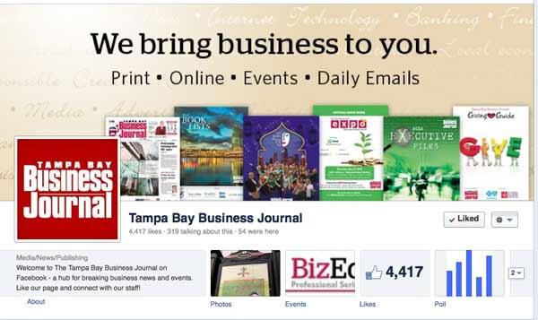 The Tampa Bay Business Journal Facebook page