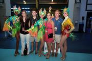 Entertainers from Busch Gardens welcome delegates and other visitors to Tropicana Field on Sunday night.