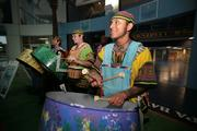 A band of steel drummers helps welcome visitors to Tropicana Field on Sunday night.