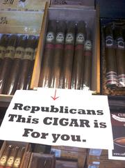 Here's an example of how TBBJ Deputy Editor Chris Wilkerson is 'RNCeeing it.' Jim Tyre ordered a couple of boxes of special cigars from Cammarata Cigar Co. with red elephants on the labels to sell to people in town for the Republican National Convention. They are in stock at his store in the Urban Center at Kennedy and Westshore boulevards.