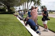 Members of the media outside the Kelleys' home in Tampa.