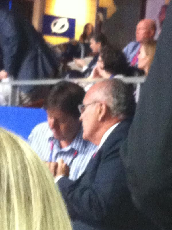 Grainy picture of Rudy Giuliani, who sat near me while being interviewed by somebody else at the Tampa Bay Times Forum.