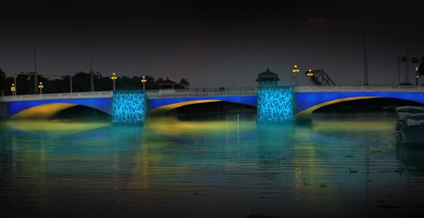A rendering shows the anticipated effect of the Agua Luces installation.