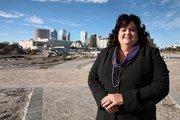 Roxanne Amoroso, senior vice president for Bank of America Community Development Corp., on the 40-acre Encore site.
