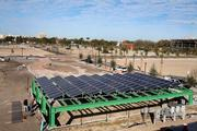 Solar panel system that will create energy that will offset the cost of street lights on the site and park.