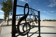 Musical-themed bike racks near Ella at Encore, a 160-unit senior housing building under construction, part of the first phase of Encore's development. Ray Charles recorded his music and Ella Fitzgerald wrote songs in the area.