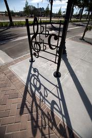Musical-themed bike racks near Ella at Encore, a 160-unit senior housing building under construction part of the first phase of Encore's development. Ray Charles recorded his music and Ella Fitzgerald wrote songs in the area.