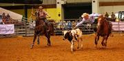 Shane Kuhn from Anthony, Fla., leaps from his horse in the steer wrestling competition.