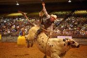 Jimmy Lathero from Fellsmere, Fla., rides a bull named PO during the bull riding competition.