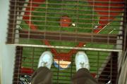 Shooting straight down at my feet standing on the catwalk above home plate.