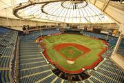 View of the field and stands from the catwalk at the top of the Trop.