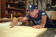 Gary Sharp, head carpenter, has been with Tropicana Field since day one. He is in the woodshop area working on a project.