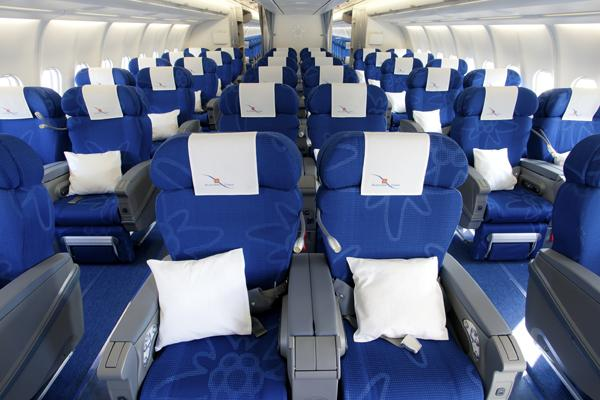 A look at the Eidelweiss Air business class cabin.