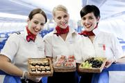 A look at a photo supplied by Edelweiss Air depicting in-air service offerings.