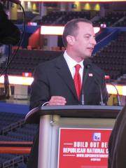 Republican National Committee Chairman Reince Priebus speaks to reporters on Monday at the Tampa Bay Times Forum about the build out for the Republican National Convention.