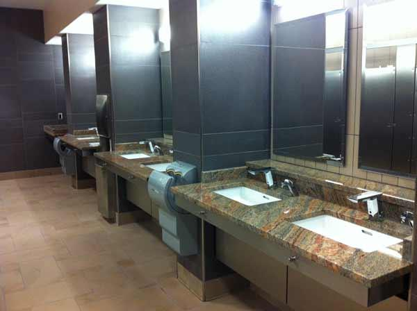 A renovated restroom at Tyrone Square Mall.