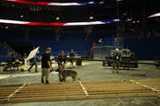 Work crews prepare the Tampa Bay Times Forum for the Republican National Convention.