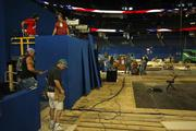 Workers prepare the stage for the Republican National Convention.