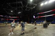 Construction crews prepare the Tampa Bay Times forum for the Republican National Convention coming to Tampa next week.