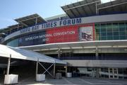 The entrance to the Tampa Bay Times Forum has been covered as forecasts call for rain.