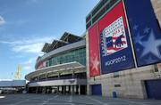 Banners for the Republican National Convention on the side of the Tampa Bay Times Forum include a suggested hashtag for tweeters.