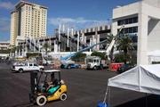 Work crews outside the Tampa Bay Times Forum get ready for the Republican National Convention.