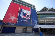 Banners on the Tampa Bay Times Forum include a hashtag for convention-goers on Twitter.
