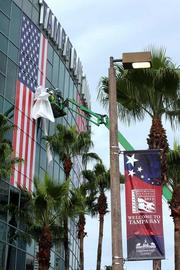 The American flag is assembled on the side of the Tampa Bay Times Forum.