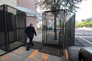 Downtown's preparations for potential protesters has become an obstacle course for office workers this week.