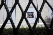 Security gates block off the Hillsborough County office building in downtown Tampa.