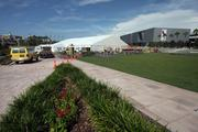 Tampa's Curtis Hixon Park has turned into a giant event tent.