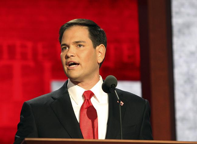 Florida Sen. Marco Rubio speaking to the Republican National Convention in Tampa.
