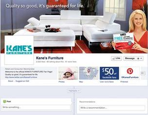 Kane's Furniture Facebook page Twitter