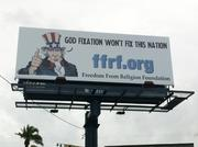 Uncle Sam himself uses this billboard along Kennedy Boulevard to make a statement about the Republican Party.