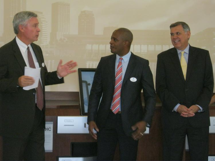 Tom Looby, president and CEO, Tampa Metropolitan Area YMCA (left) with Michael McCollum, executive director of the Sulpher Springs YMCA and Sen. Mel Martinez, chairman, Southeast and Latin America, for JPMorgan Chase & Co. and chairman of the JPMorgan Chase Foundation.