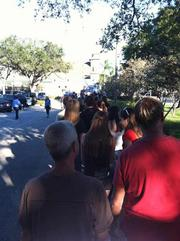 Attendees line up outside the Coliseum.