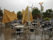 Damages at the Columbia Café outside the Tampa Bay History Center.