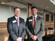 Brian Seel is public policy chair for Emerge Tampa Bay, and Andrew Smith is program chair for the group.