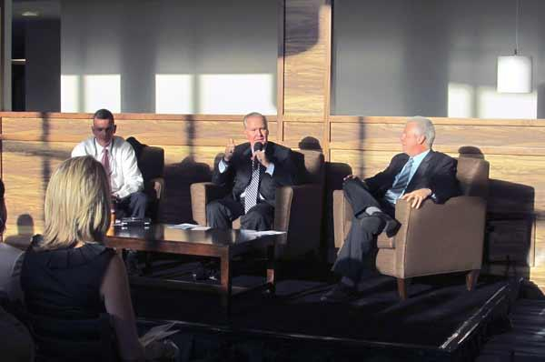 Hillsborough County Commissioner Mark Sharpe, Tampa Mayor Bob Buckhorn and Tampa Councilman Mike Suarez at the Emerge Tampa Bay event.