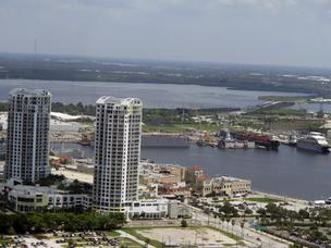 The Port of Tampa lies just beyond the Towers of Channelside in Tampa.