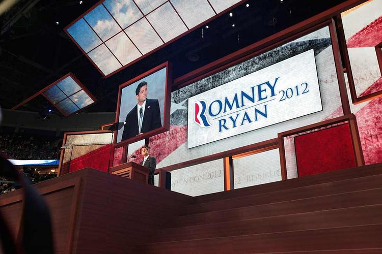 Vice presidential candidate Paul Ryan as he addressed the Republican National Convention in Tampa in August.