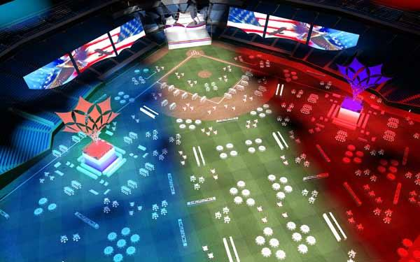 An artist rendering of the welcome event at Tropicana Field.