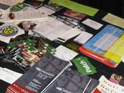 Local businesses spread out business cards and pamphlets.