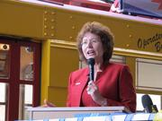 "Tampa Mayor Pam Iorio said she hope the city will eventually build ""a modern light-rail system and expanded bus system."""