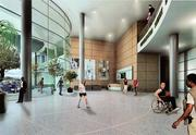 A conceptual drawing shows the interior of the proposed rehabilitation center.
