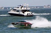 Powerboats at high speed off Clearwater Beach in 2011.