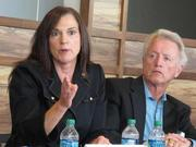 Rep. Dana Young talks about a plan to convene stakeholders in water resources. To her left is Rep. Peter Nehr.